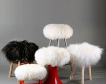 Upgrate your stool! ROUND Pure sheepskin adjustable stool cover from Zuba Homely! Different sizes, shapes and colors!