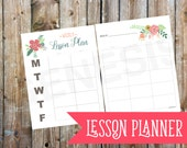 Lesson Planner - Weekly planner, teacher planner, instant download, lesson printable, planner pages, weekly lessons, homeschool