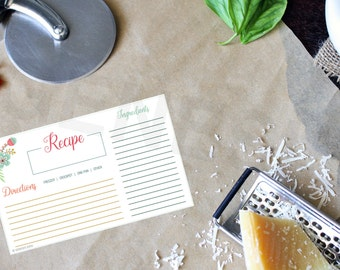 Recipe Card - Floral, recipe book, recipes, planner pages, cards