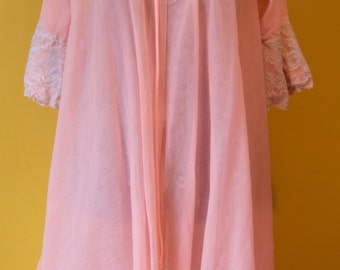 Vintage Hot Pink Robe with lace