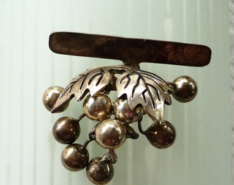 Unique Grapes & Leaves Sterling Silver Taxco Mexico Pin Brooch - Signed TR-12D  (925)