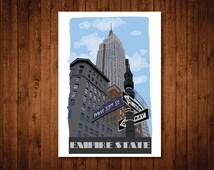 Empire State Building art, New York city art print, Empire State building print