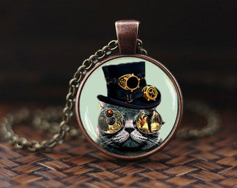 Steampunk cat necklace, Steampunk cat pendant, Steampunk pendant, Steampunk jewelry, men's necklace