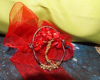 Bracelet-tree of life-the wire-wrap technique red coral.