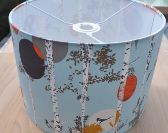 Handmade lampshade with silver birch trees and magpies