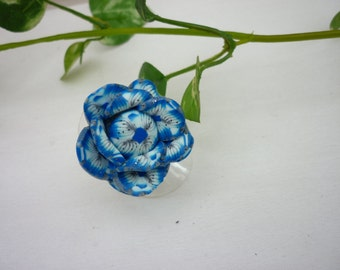 Blue Flower ring polymer clay