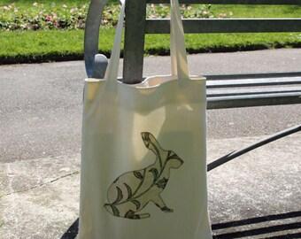 Handmade appliquéd hare tote bag