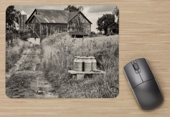 Farm Mouse Pad - Milk Farm Mousepads -Barn Computer Mat - Office Accessories - Office Decor - Desk Accessories - Office Gifts