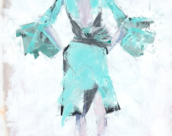Turquoise dress, fashion print, fine art print
