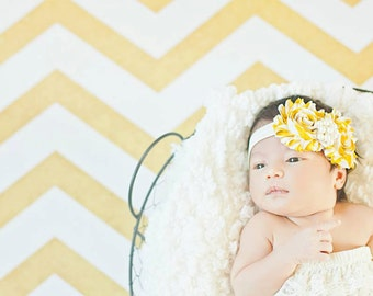 Mustard Striped shabby chic headband, infant headband, baby headband, newborn photo prop, toddler headband, vintage headband