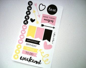 Weekly Spread - Arrow Heart Stickers Erin Condren Happy Planner Filofax
