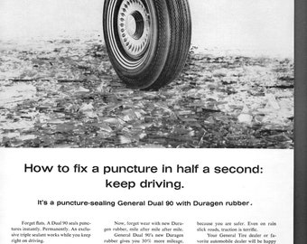 "General Tire vintage magazine ad "" how to fix a puncture in half a second keep driving"""