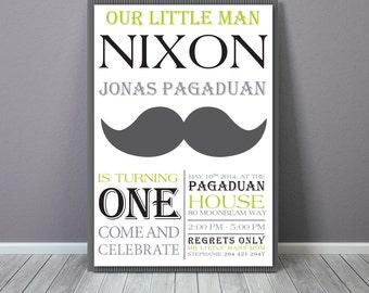Moustache Birthday    Printable Invitation   Moustache Invitation   Little man   Moustache   Little Man Invitation