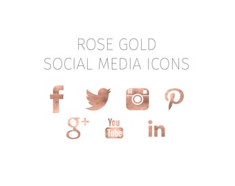 Rose Gold Social Media Icons, Social Media Icons, Blog Icons, Web Icons