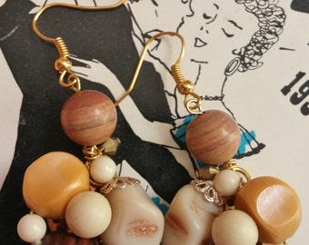 Upcycled Vintage Clip-On Cream, Gold & Brown Earrings