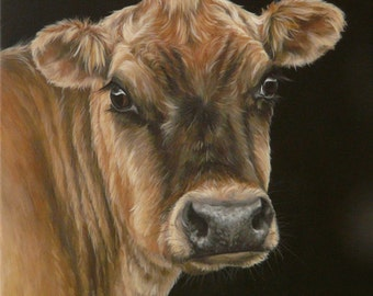Original Canvas by Alison Armstrong - Farm Animal  Painting - Jersey Cow