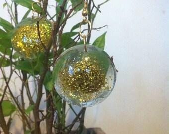 resin with gold glitter earrings