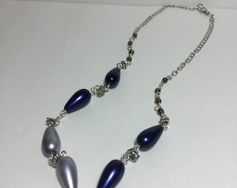 Blue, Silver, and Purple Pearl-like Beaded Necklace