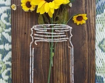 Mason Jar String Art with interchangeable flowers// string art//mason jar//home decor