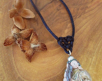 Mountainstar necklace, Amethyst, Paua shell