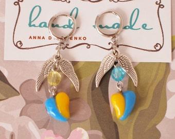 Blue and yellow heart shaped earrings Heart earrings Ukrainian colors