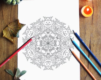 Halloween Coloring Pages, Fall Printable Coloring Pages, Halloween Mandala Coloring Page, Autumn Instant Download Coloring for Adults
