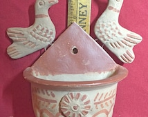 Hecho en Mexico (Made in), Red Clay/Terra Cotta Two Dove Wall Plant Pocket - Flower Pot - Planter