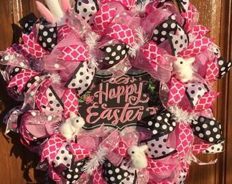 Happy Easter Wreath, Deco Mesh Easter Wreath, Deco Mesh Bunny Wreath, Polka Dot Spring Wreath, Deco Mesh Polka Dot Wreath, Easter Decor
