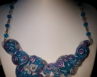 Polymer Clay and Glass Neclace with Beaded Chain