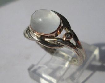 Silver/Rose Gold Moonstone Diamond Ladies Ring, Grey Moonstone Diamond Ring, Silver Moonstone Diamond Ring, Moonstone Ring, Gemstone Ring
