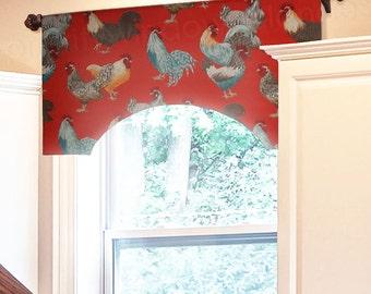 """35"""" to 47"""" Custom P Kaufmann Free Range Confetti French Country Rooster Chicken Toile Valance, Red, Lined"""