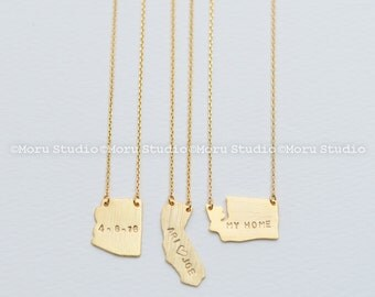 Personalized State Necklace- Arizona, California, Washington/ Hand Stamped Necklace, Custom Necklace, Best Friends, Birthday Mom Gift NCR062