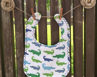 Alligator Flannel Bib Snap Fastener baby toddler mealtime essentials baby layette baby shower gift baby gift drool bib