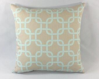 Powder Blue & Taupe Chain-link Pillow Cover - Gotcha Print - Decorative Throw Pillow Cover - Accent Pillow - Premier Prints - Hidden Zipper