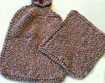 Knit Dishcloth & Towel Set, Knit Dishcloths, Hand-knit Towel, Cotton Dishcloths, Cotton Towel, Matching Kitchen Set