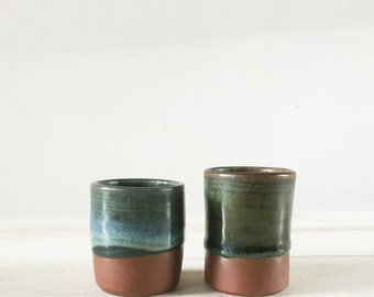 Sake Cups - Set of 2 - Dark Blue and Green Sake Cups - Handmade Pottery - Shot Glass - Espresso Cup