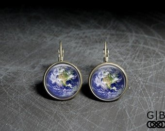 Earth Earrings Planet Dangles Earthy Jewelry - Planet Earth Earrings Planet Jewelry - Earth Planet Earrings Dangles Earthy Gift Earrings