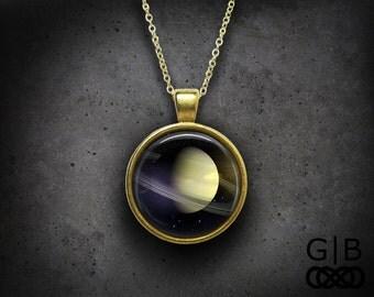 Saturn Necklace Planet Saturn Pendant - Planet Saturn Necklace Jewelry - Saturn Rings Necklace Pendant - Planet Jewelry Saturn Necklace