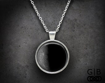 Mercury Necklace Planet Mercury Pendant Charcoal Gray Jewelry - Gray Planet Necklace Charcoal Gray Pendant Planet Mercury Jewelry Necklace