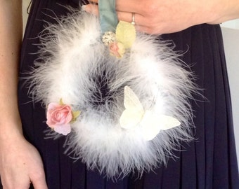White feather and pastel detail wreath