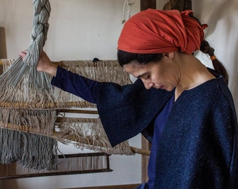 Blue wool cloth hood-Lanificio Merlin