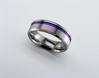 zirconium wedding band anodised zirconium ring purple blue wedding band mens wedding ring - Purple Wedding Ring