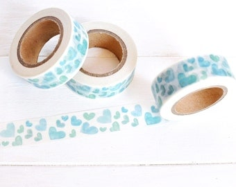 Blue Heart Washi Tape. 15mm x 10m. Blue Washi Tape. Love Washi Tape. Blue and White. Baby Boy Washi Tape. Blue Planner Supplies.