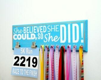 Race Bib and Running Medal Holder - She Believed She Could So She Did - Run Like A Girl - Girls Medal Holder - Race Bib Holder - Medal Rack