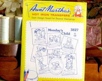 Aunt Martha's Hot Iron Transfers #3827 Monday's Child