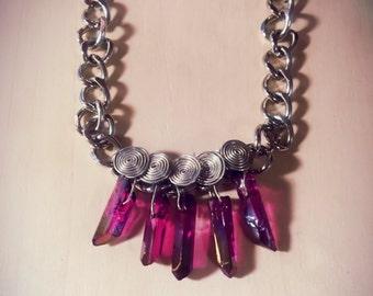Purple Rose Aura Crystal Quartz necklace, Rose Aura Quartz Necklace, Aura Crystal Necklace, aura stone statement necklace, healing Crystal