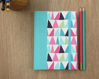 2016 - 2017 Weekly Planner in Turquoise, Pink and Green triangles - A6 size / small size - made to order