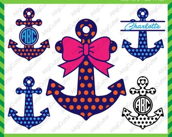 Anchor Patterned Dot Circle With Bow Monogram Frame SVG DXF PNG eps Nautical Cut Files for Cricut Design, Silhouette studio, Sure Cut A Lot