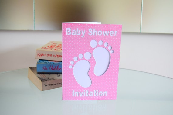 handmade footprints baby shower invitations footprints invite baby