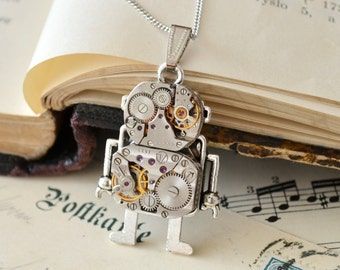 Steampunk Robot Necklace, Necklace Robot, Robot Pendant, Industrial Neclace, Andriod Pendant, Steampunk Pendant, Steampunk Gift, Steampunk